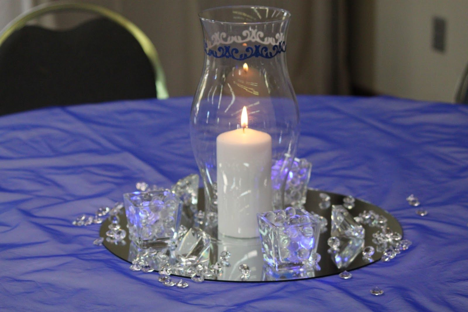 Bella Beginnings Royal Blue And Silver Church Wedding And Reception Blue Wedding Receptions Silver Wedding Centerpieces Silver Wedding Decorations