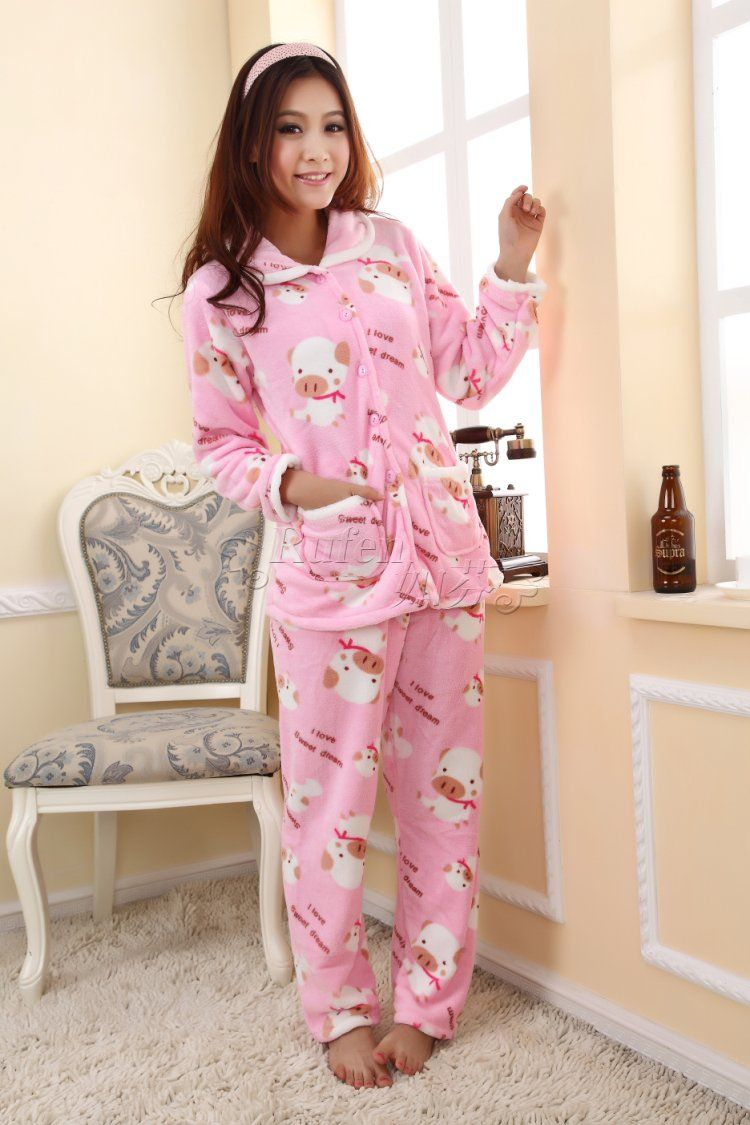 New winter thickening coral velvet pajamas women Cartoon pig pink ...