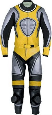 $299.00 - Silver and Yellow Motorcycle Leather Suit