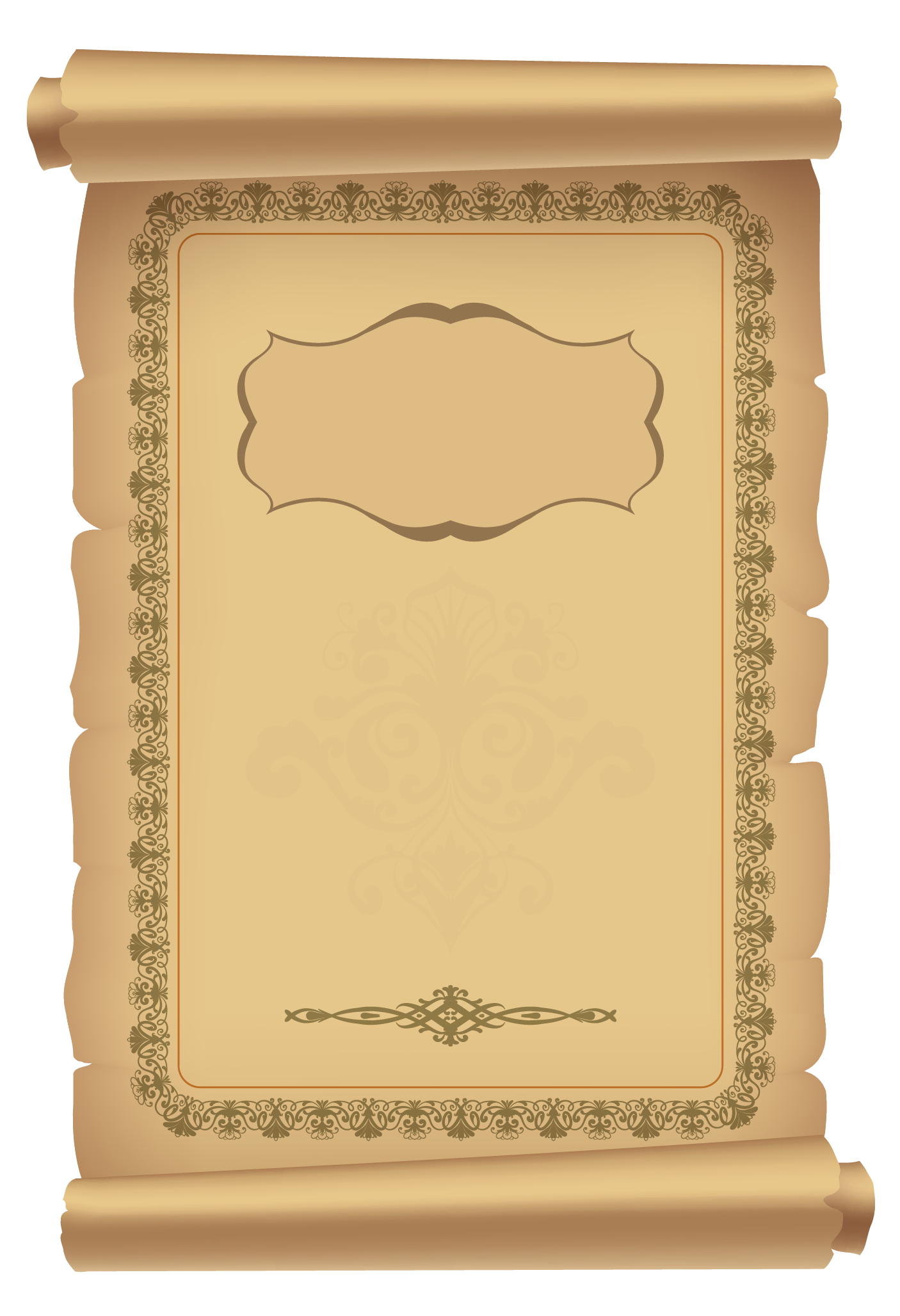 Decorative Scrolled Old Paper PNG Clipart Image | Tezhip