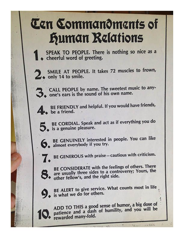 Ten Commandments of Human Relations The list includes 10 timeless