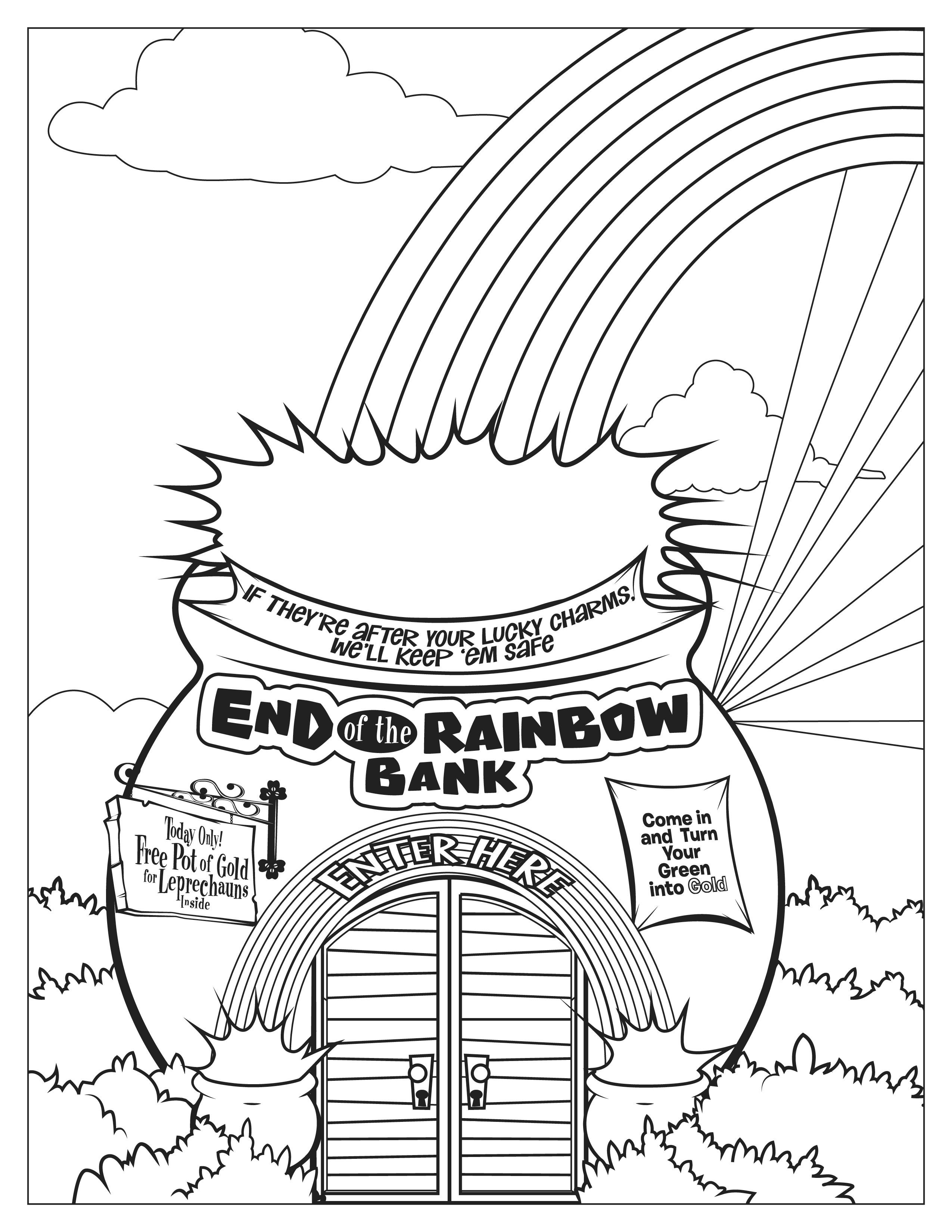 Lucky Charms End Of The Rainbow Bank Coloring Page Coloring Worksheets For Kindergarten Kindergarten Worksheets Kindergarten