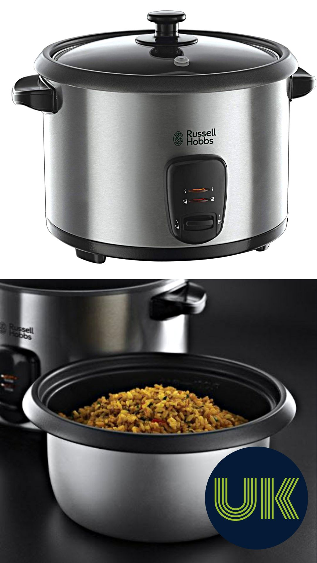 1.8 L Silver Russell Hobbs Rice Cooker and Steamer 19750