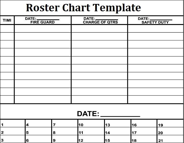 3 roster chart templates free printable word excel. Black Bedroom Furniture Sets. Home Design Ideas