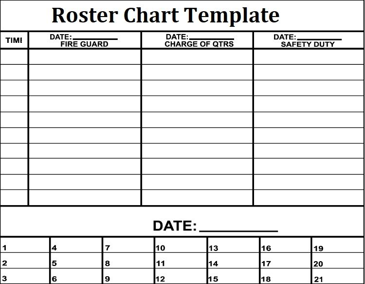 3 Roster Chart Templates Free Printable Word Excel Pdf Templates Printable Free Templates Chart