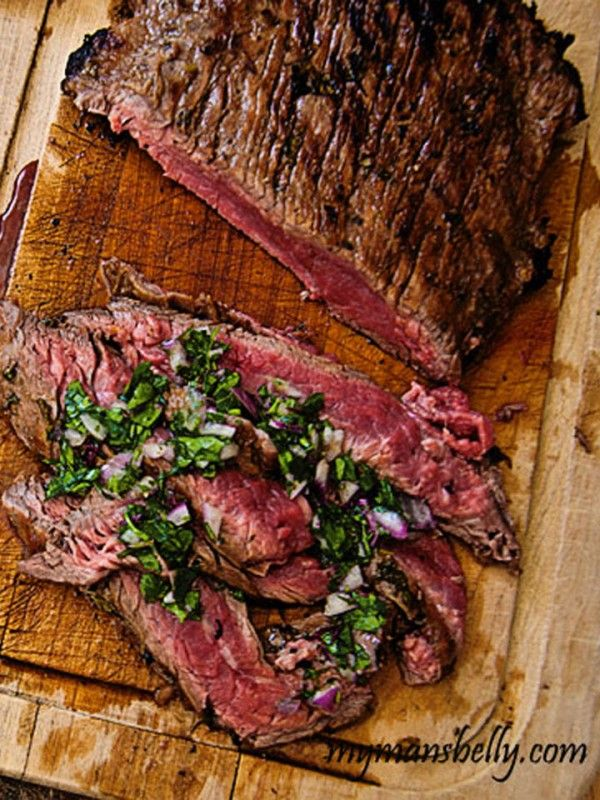 Brazilian Grilled Flank Steak with Chimichurri Sauce- I just started marinating this and OMG it smells SO good! I want to eat it NOW!!!
