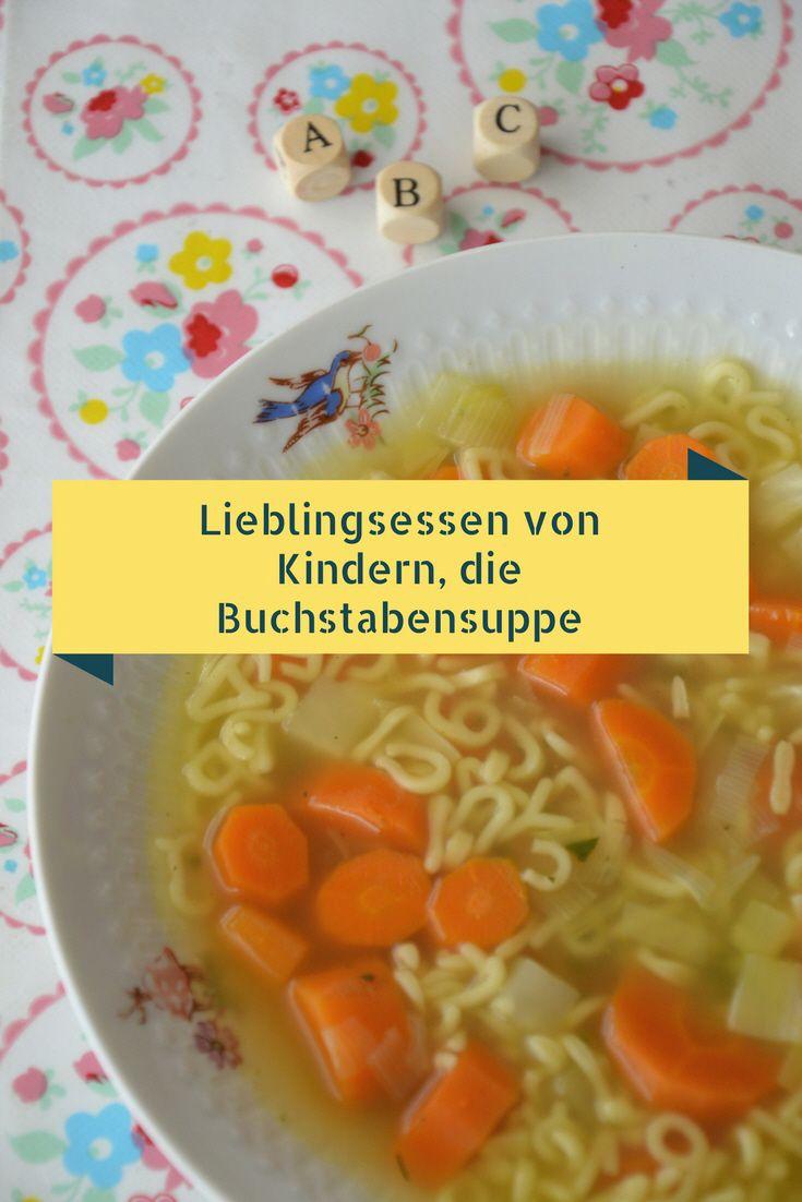 Lieblingsessen von Kindern, die Buchstabensuppe