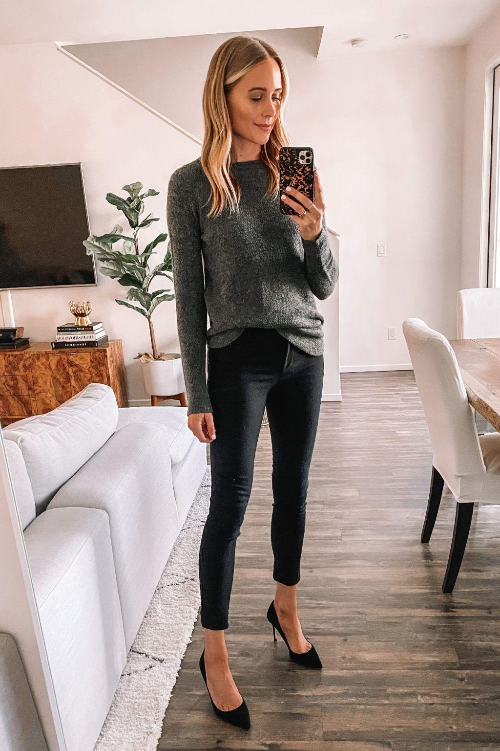 Fashion Jackson Loft Try On Haul Workwear Grey Sweater Black Dress Pants Black Pumps Outfit Fashion Jackson Dress Pants Outfits Pumps Outfit [ 1536 x 1024 Pixel ]