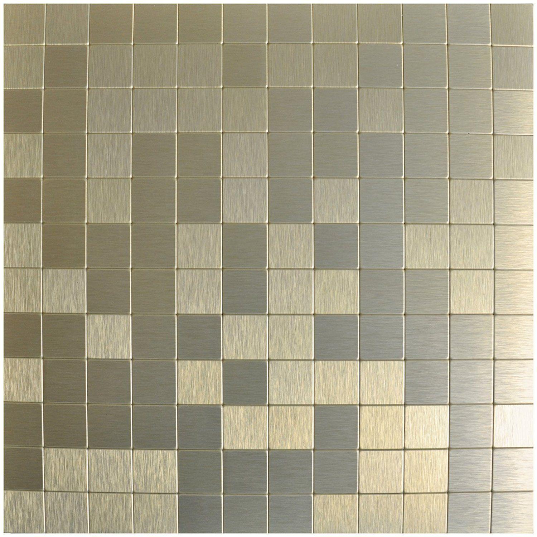Amazon Com Art3d Peel And Stick Metal Backsplash Tile 12 X 12 Champagne Home Kitchen Metallic Backsplash Metal Tile Backsplash Tile Backsplash