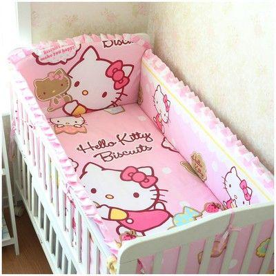 6pcs Cartoon Bed Linen Crib Bedding Set Baby Cot Protector Baby