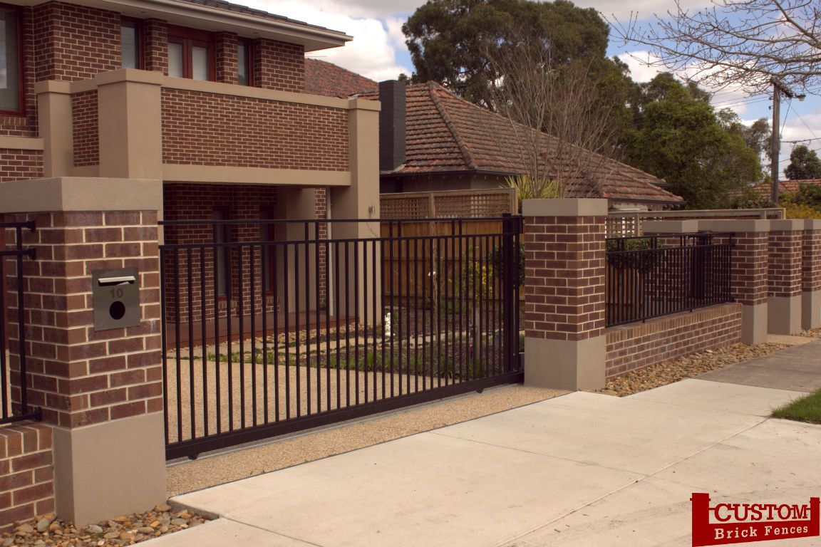 Brick and Rendered Fence Combination with Gothic Steel 02