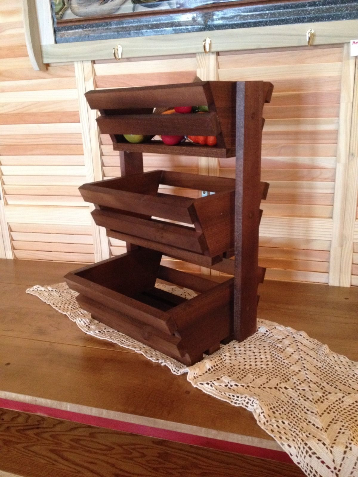 Wood Fruit Vegetable Display Holder Kitchen Counter Top 3 Tier Magazine Rack Ebay Countertops Fruit Holder Diy Furniture