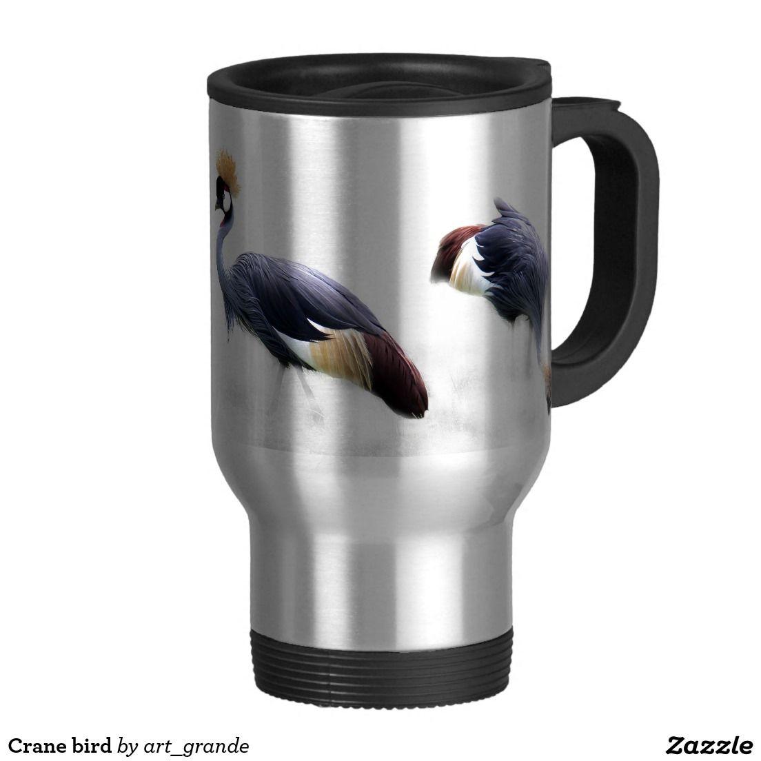 Crane bird travel mug