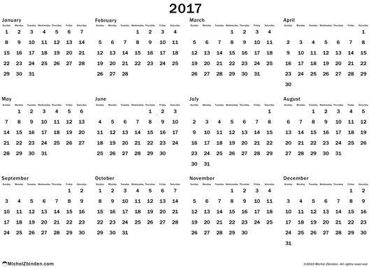 calendar 2017 annual free to print Annual regular Sunday South ...