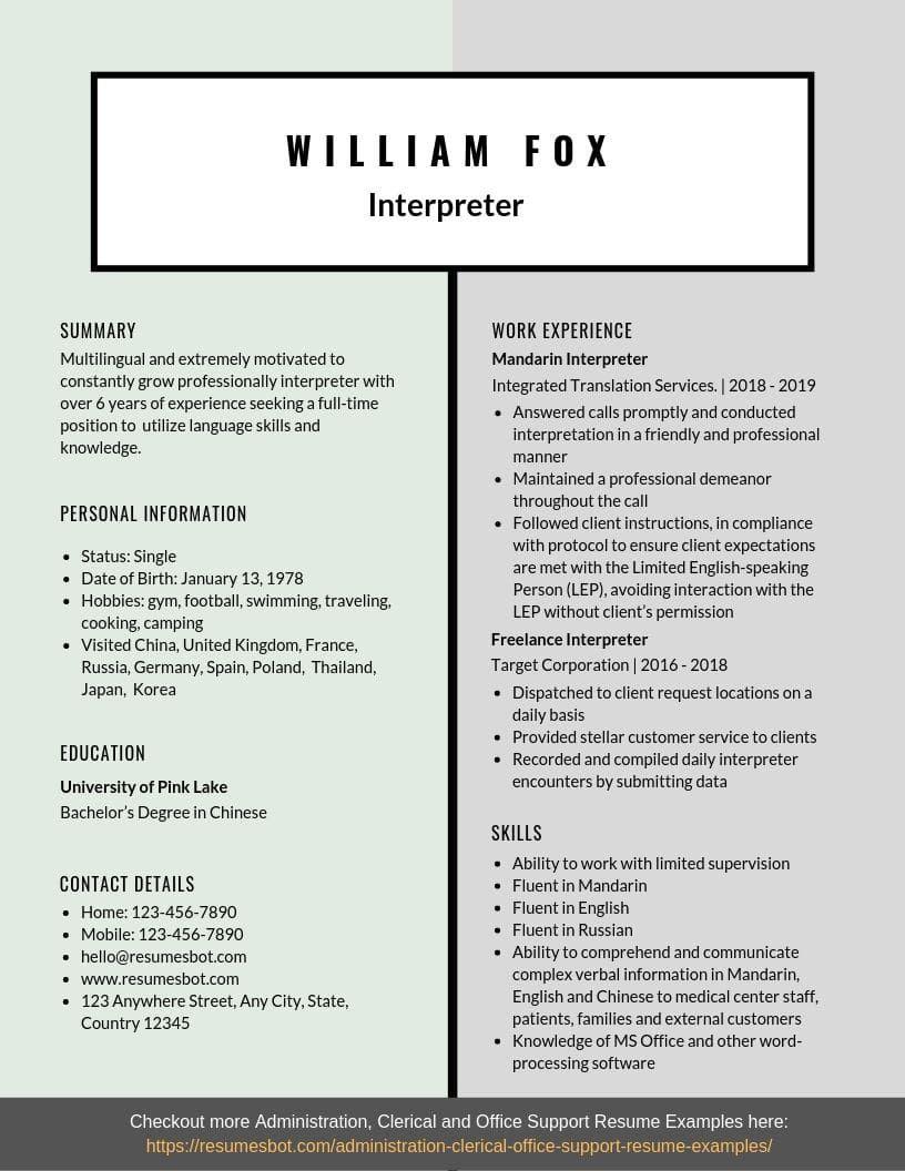 Interpreter Resume Samples Templates Pdf Doc 2019 Resume