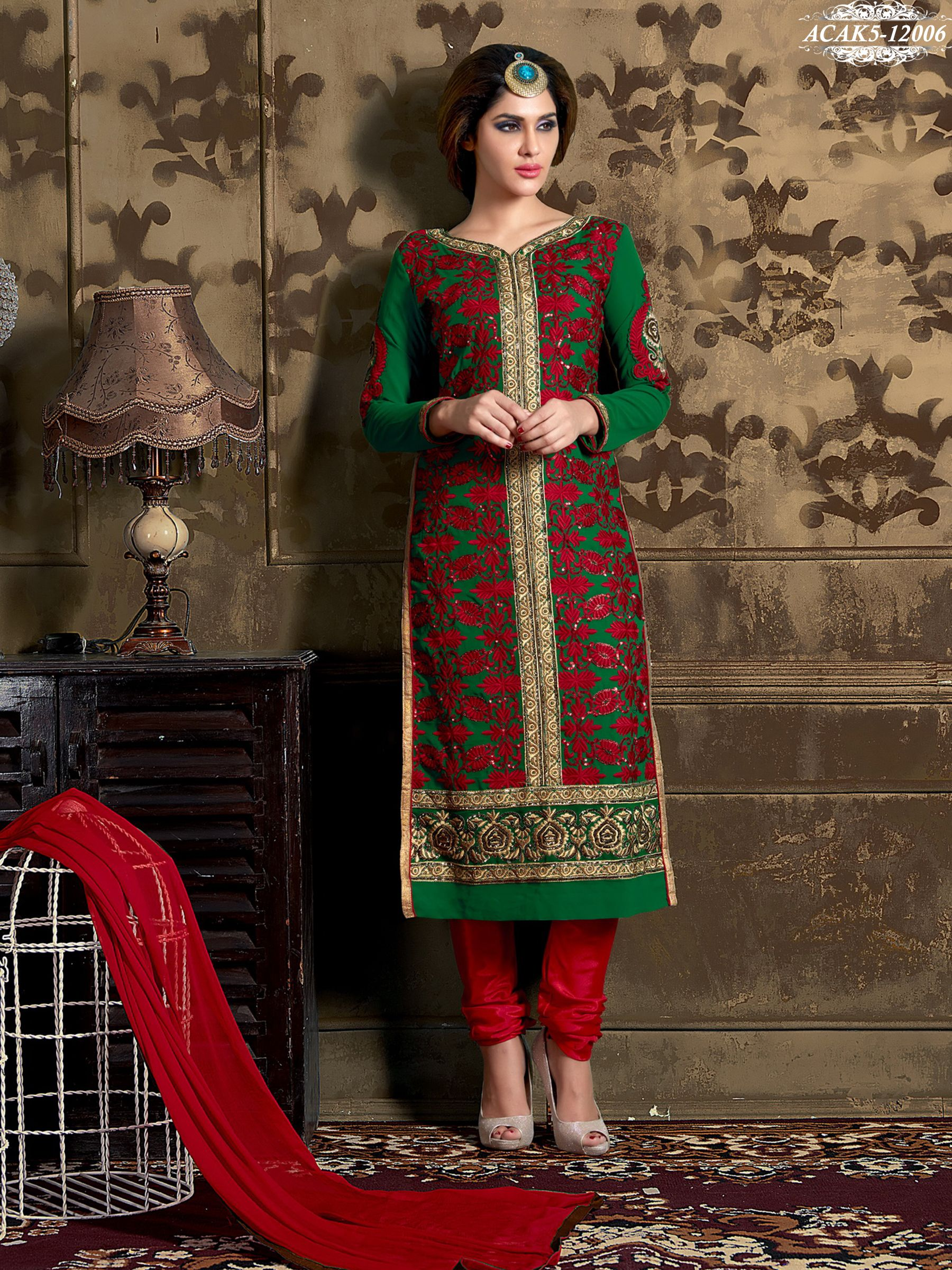 956e3a076 Green Colour Georgette Embroidered Semi Stitched Salwar Suit.. Shop Now   www.glamyshop.com