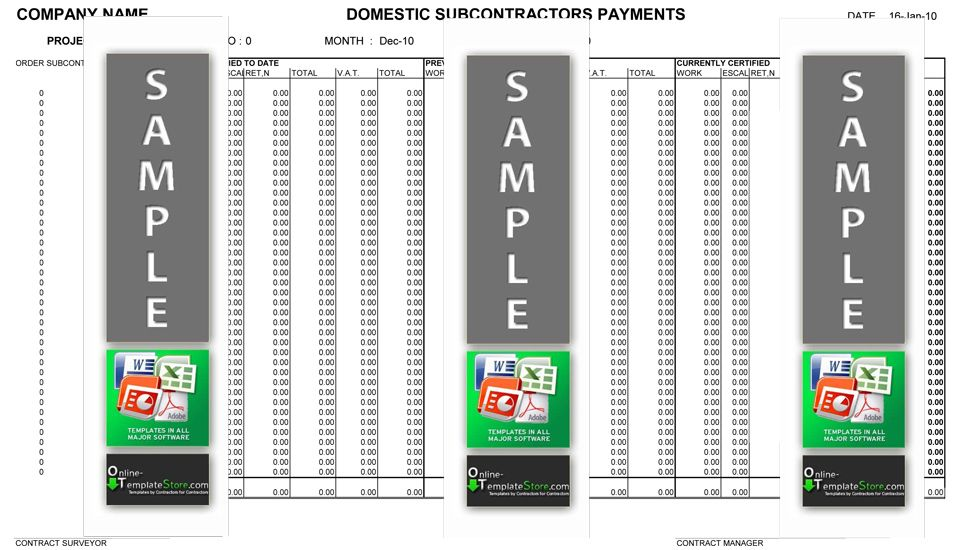 Subcontractor Payment Schedule  Cost Control Templates
