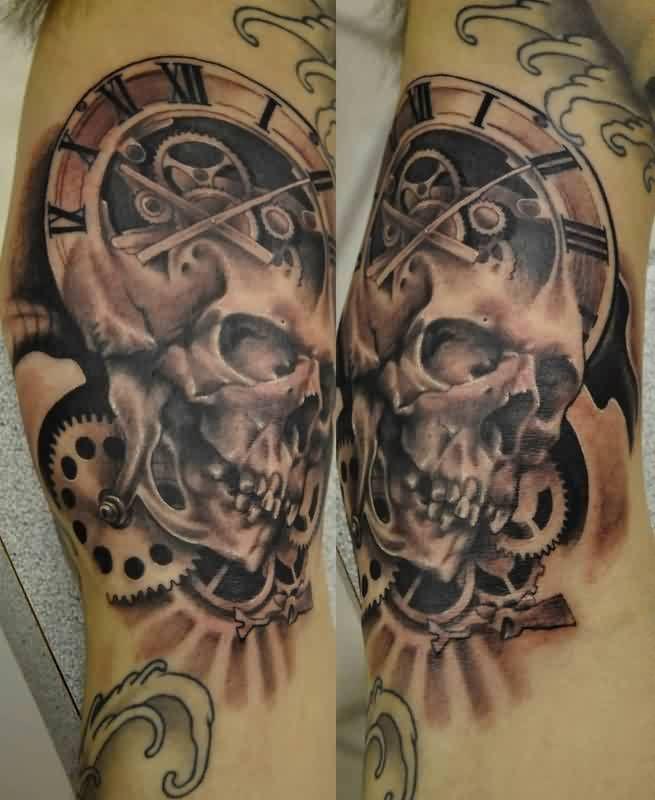 Gothic Grey Skull And Clock Gears Tattoo On Sleeve Tattoos Gear