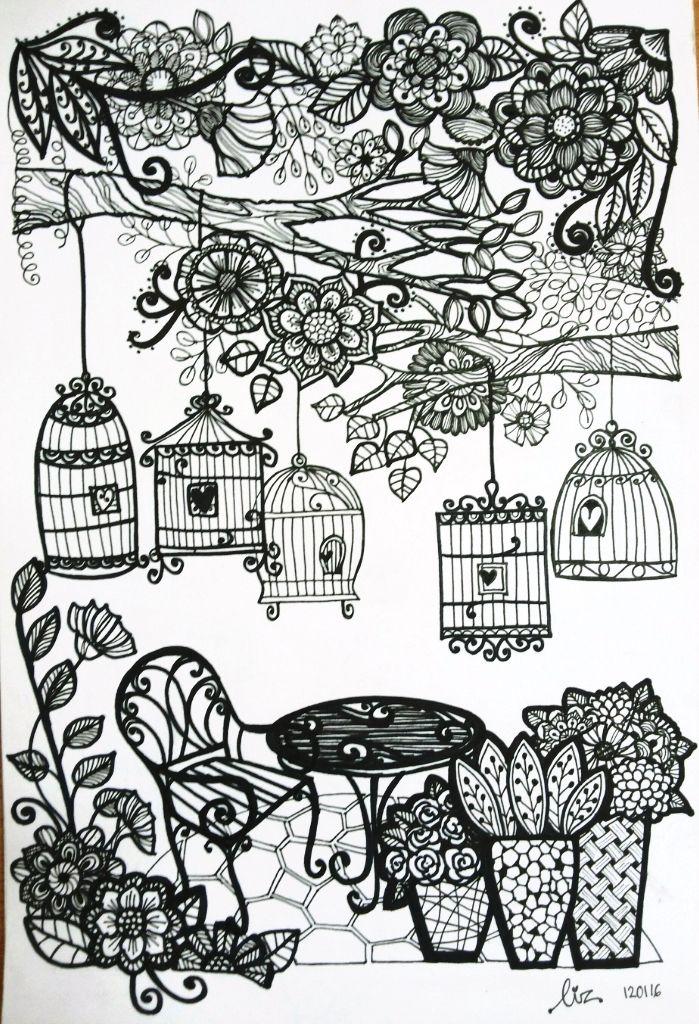 Bird cages in a small garden doodle. | Doodle and Zentangle ... on garden landscape designs, garden home designs, front garden designs, entrance garden designs, garden sidewalk designs, garden stairs designs, garden border designs, garden frame designs, garden exterior designs, garden design software, garden fireplace designs, garden fences to keep animals out, garden pergola designs, garden plant designs, rock garden designs, garden structure designs, garden hedge plant, garden barn designs, bamboo garden designs, garden vegetable cream cheese recipe,