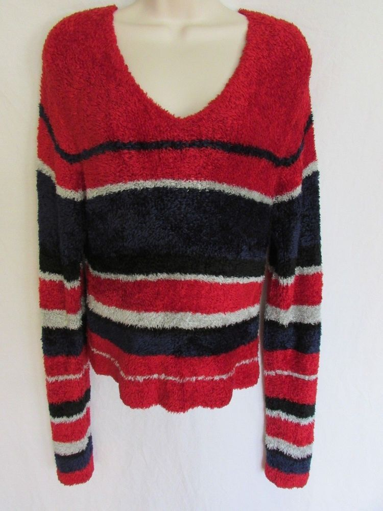 c707d76d5 CHENILLE PULLOVER SWEATER M red blue silver soft super long sleeve ...