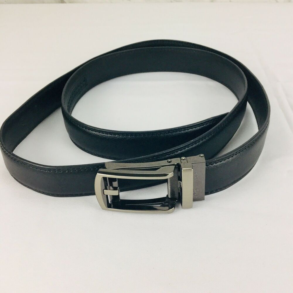 Men S Belt 48 Leather Dress Belt Click Comfort Automatic Lock Belt Buckle Unbranded Belt Work Belt Leather