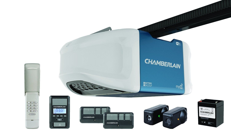 Chamberlain Wd1000wf 1 1 4 Hps Smartphone Controlled Wi Fi Garage Door Opener With Battery Quiet Garage Door Opener Garage Door Opener Best Garage Door Opener