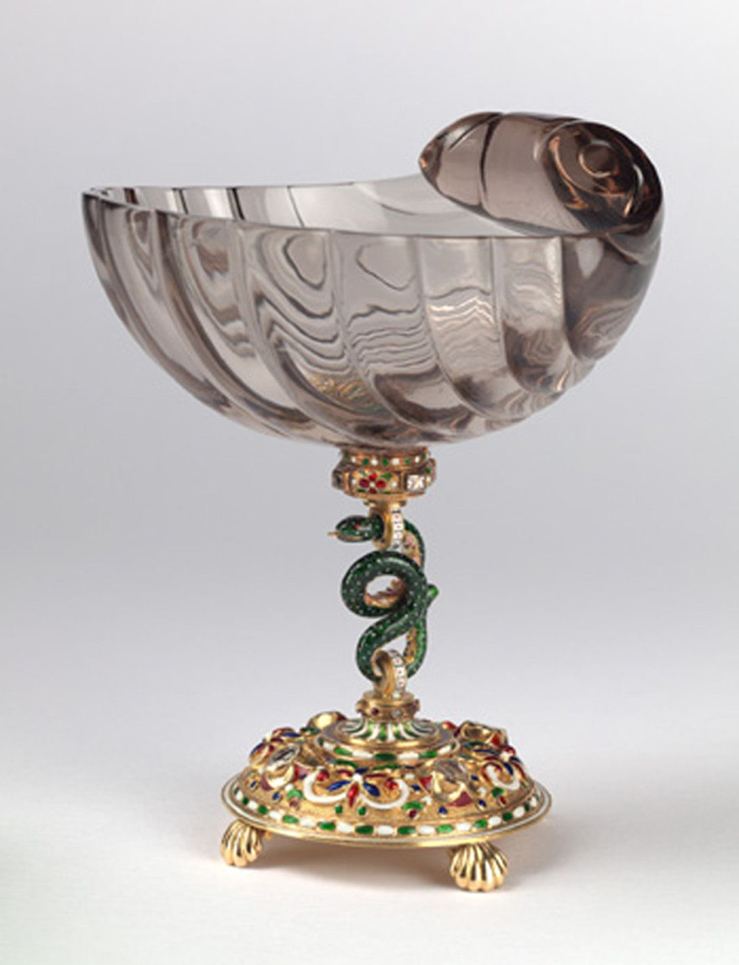 A gem set and enamelled neo- renaissance smoky   quartz cup by Carl Fabergé,
