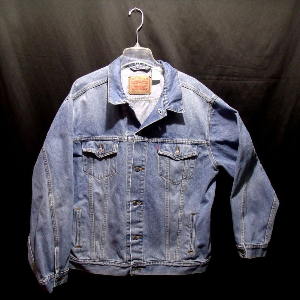 Vtg 80s Levi's Denim Jean Jacket XXL Distressed Standard Trucker Style #LevisDenimJeanJacket #StandardTrucker #xxl #vtg #80s #1980s #LightBlue #distressed #MothballHavenVintageThreads