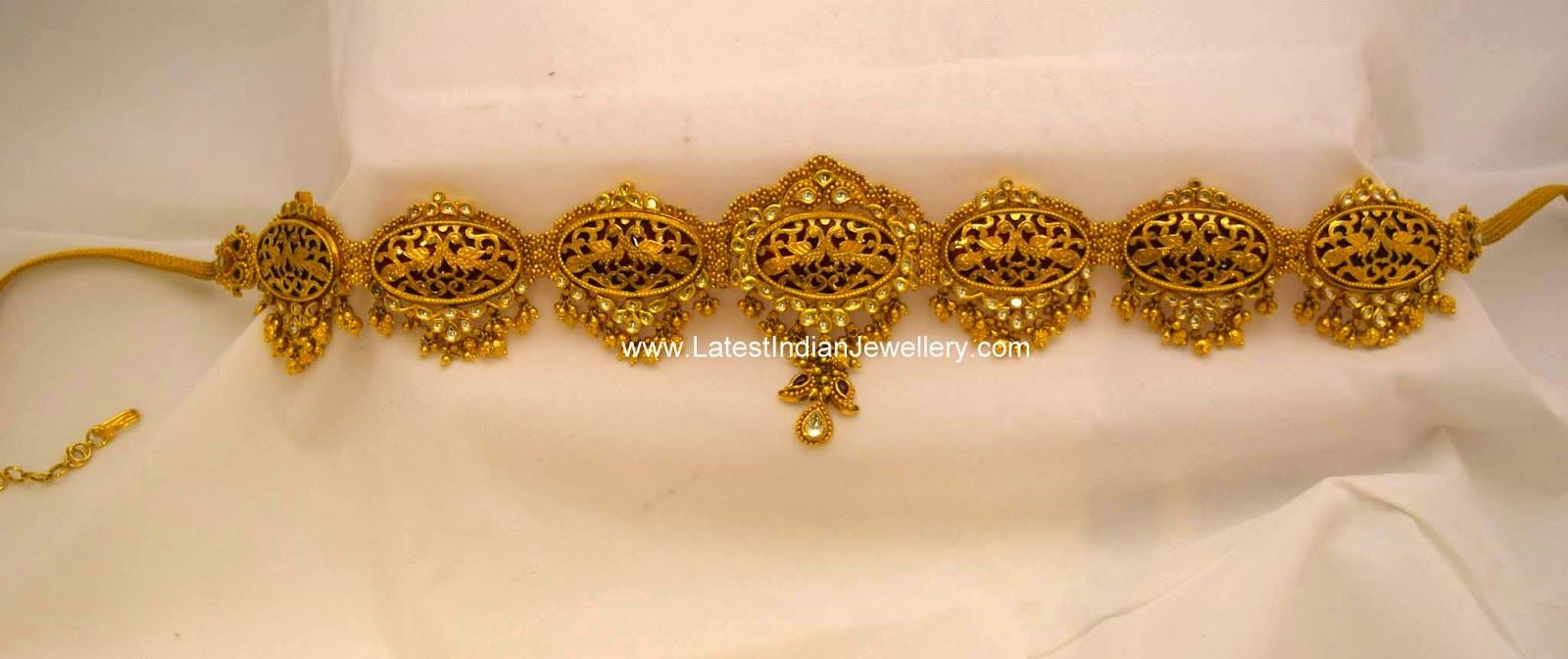 Gold vaddanam oddiyanam kammarpatta waisbelt designs south indian - Antique Gold Kundan Vaddanam