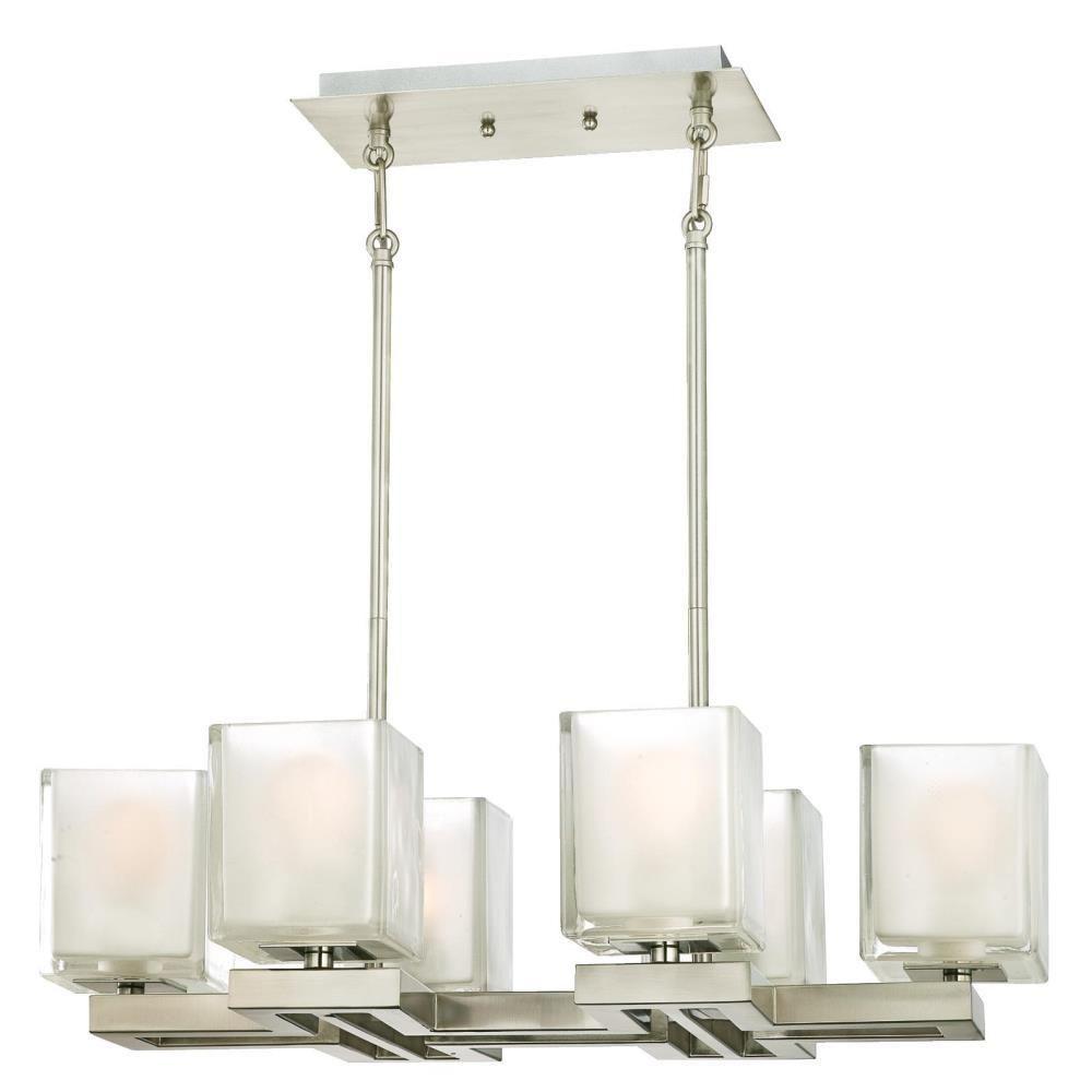 Westinghouse Nyle 6 Light Brushed Nickel Chandelier With Glazed