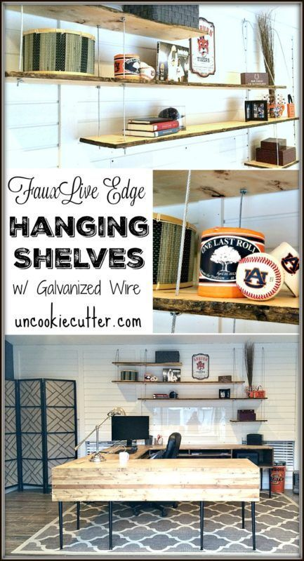 Hanging Shelves with Faux Live Edges | Shelves, Woodworking and Diys