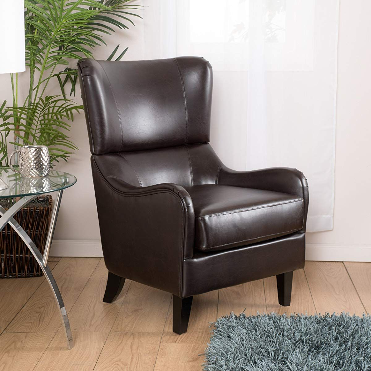 Brown Leather Wingback Club Armchair | Leather club chairs ...