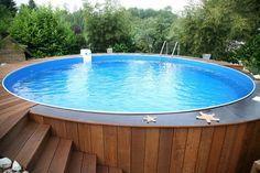 above ground pool decks ideas wood pool deck wood steps round garden pool