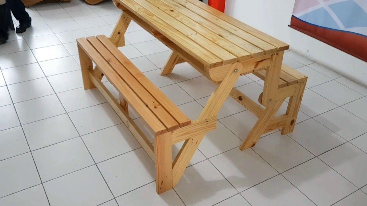 sillas y mesa plegables madera
