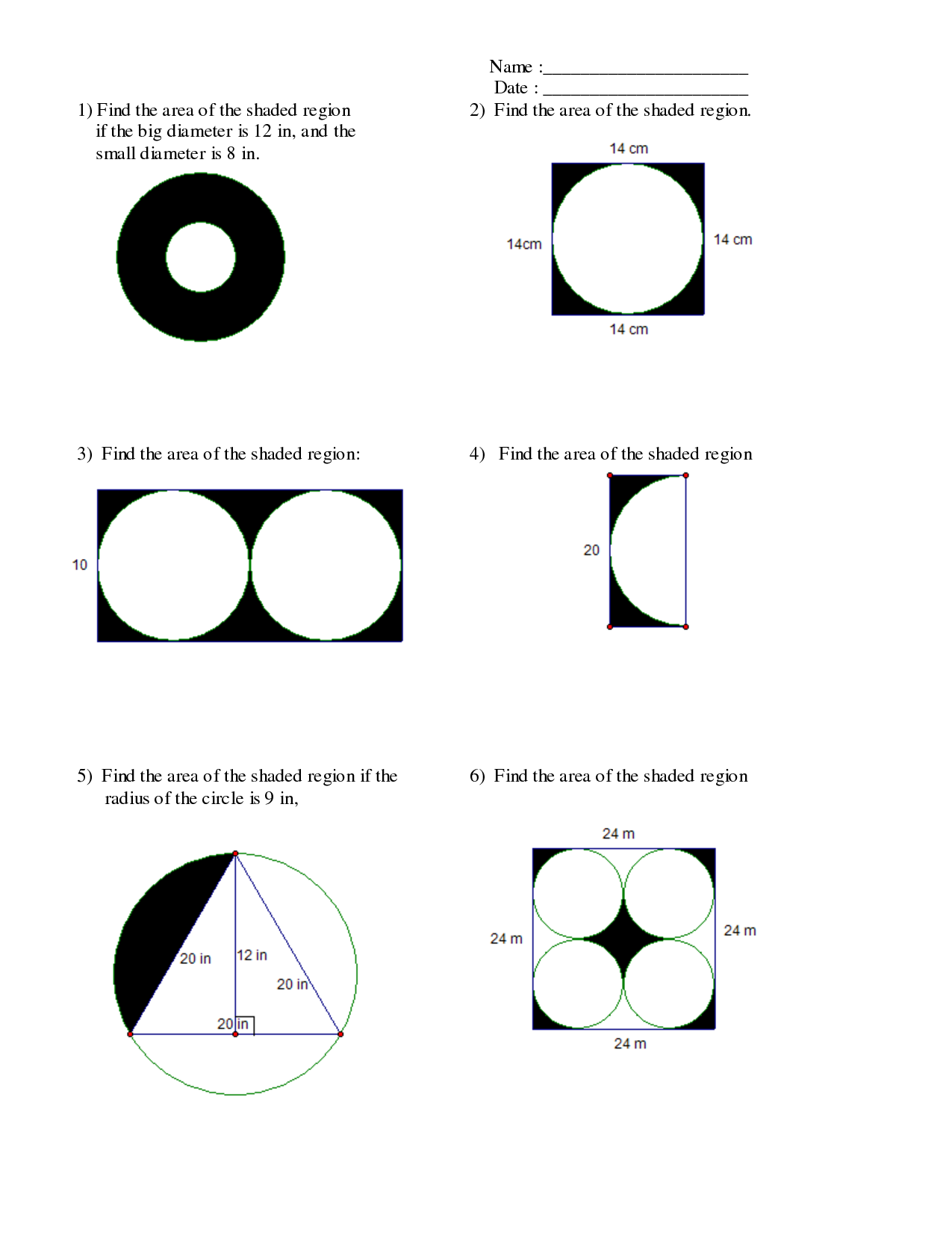 Area Of A Shaded Region Of A Circle Worksheet