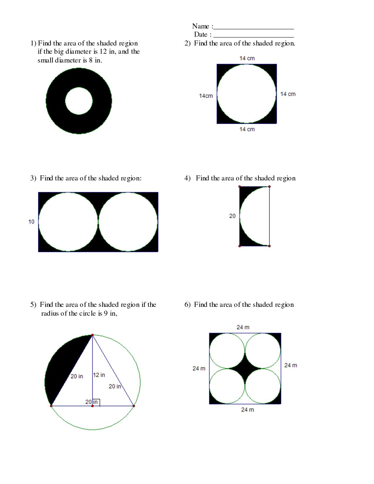 Uncategorized Area Of Shaded Region Worksheet area of a shaded region circle worksheet of