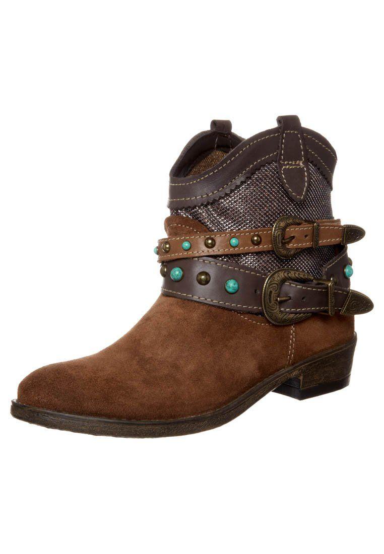 Tamaris Botki Kowbojki I Motocyklowe Brazowy Boots Biker Boots Brown Boots