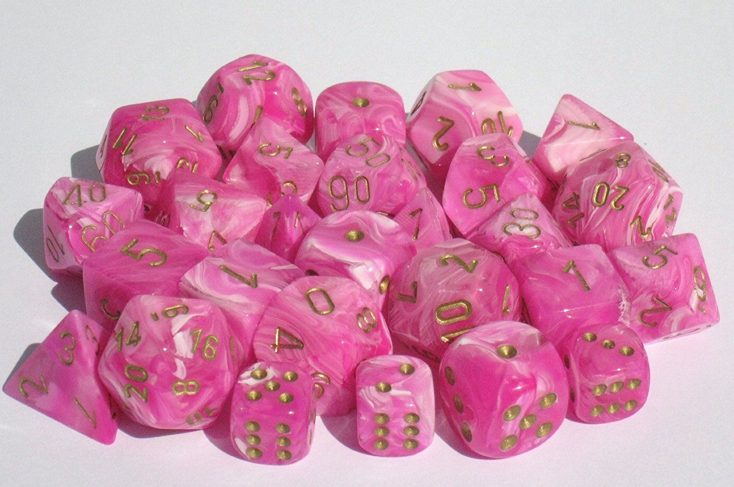 Marbelized pink dice w/ gold numerals