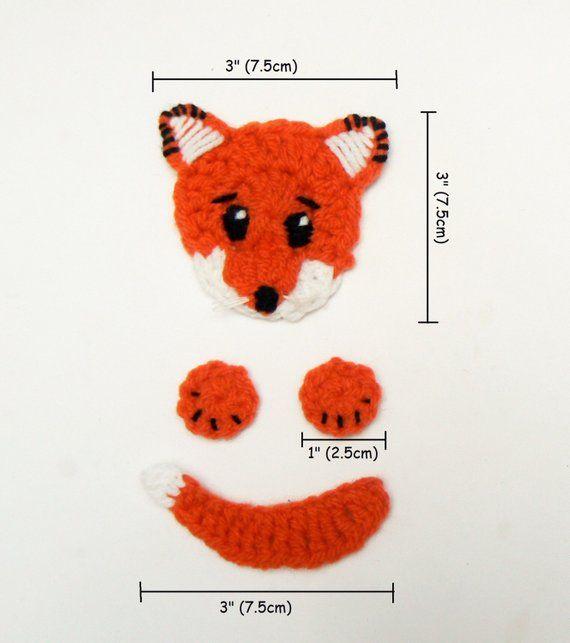 Photo of Fox Applique, Crochet Fox, Hat Applique, Animal Motif, Sewn on Applique, Kids Clothing, Orange Fox, Craft Supplies, Cute Kids Hat, Handmade