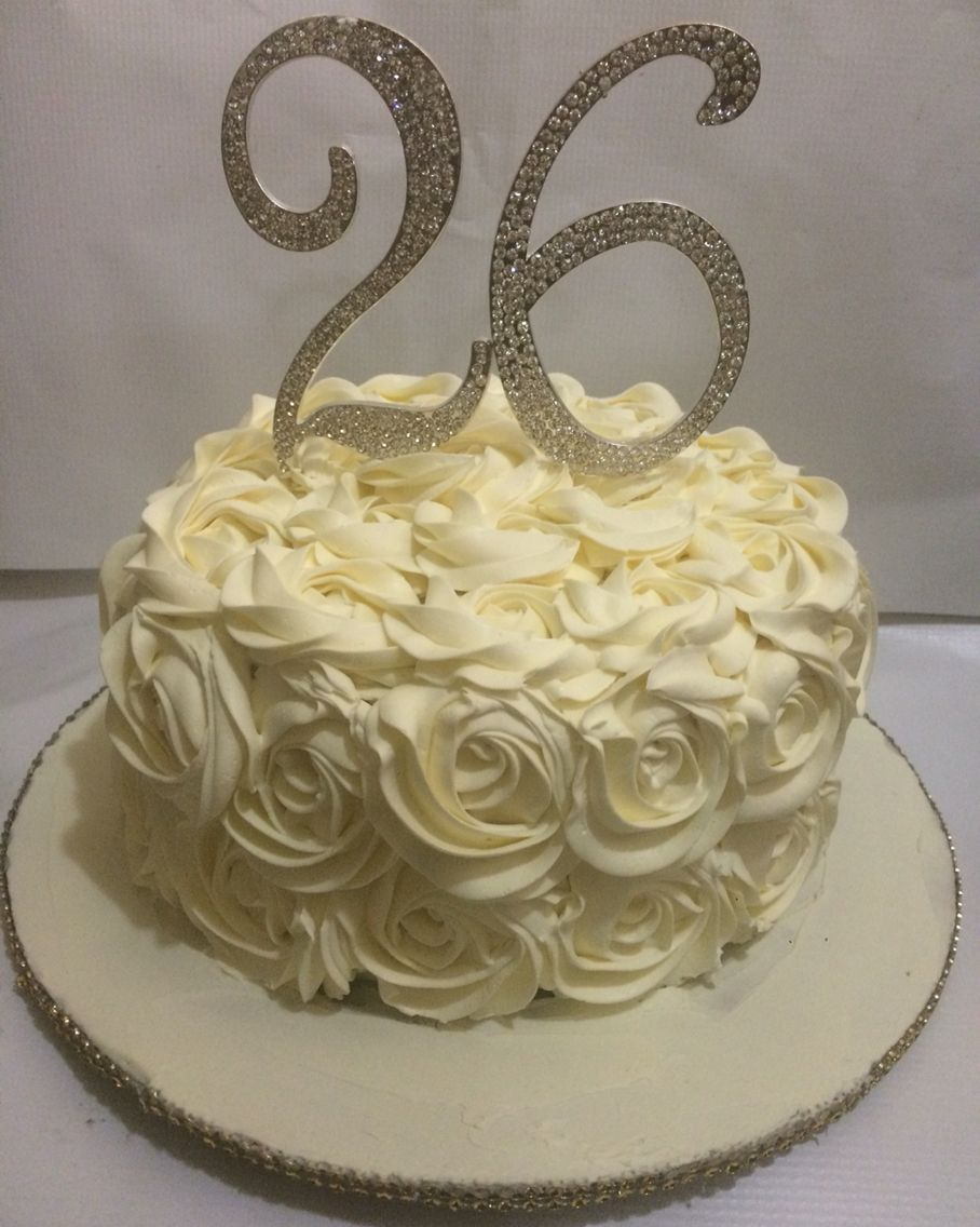 buttercream rosette cake with bling topper. 26th birthday cake