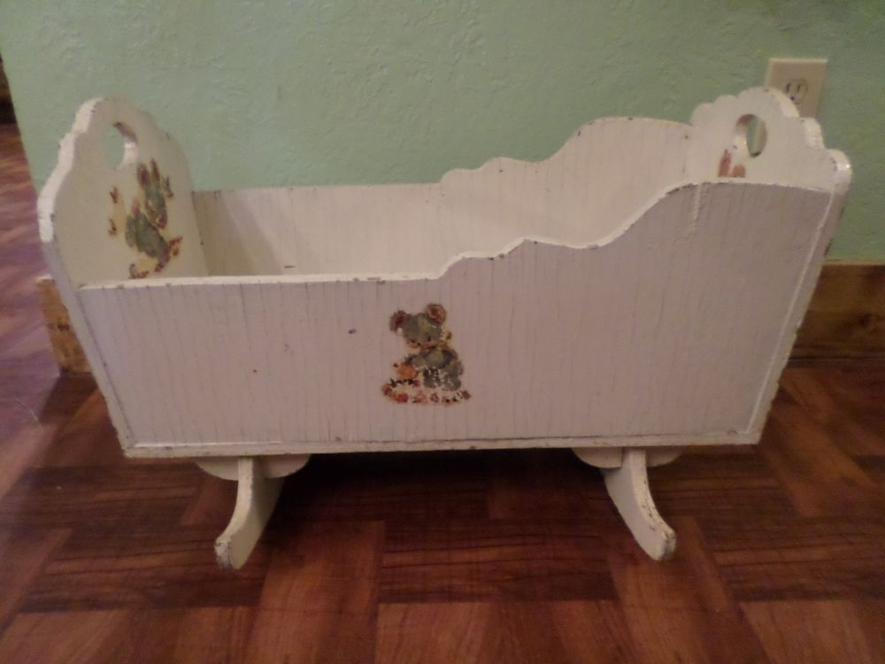 Vintage Antique Large White Wood Baby Doll Bassinet Cradle Crib