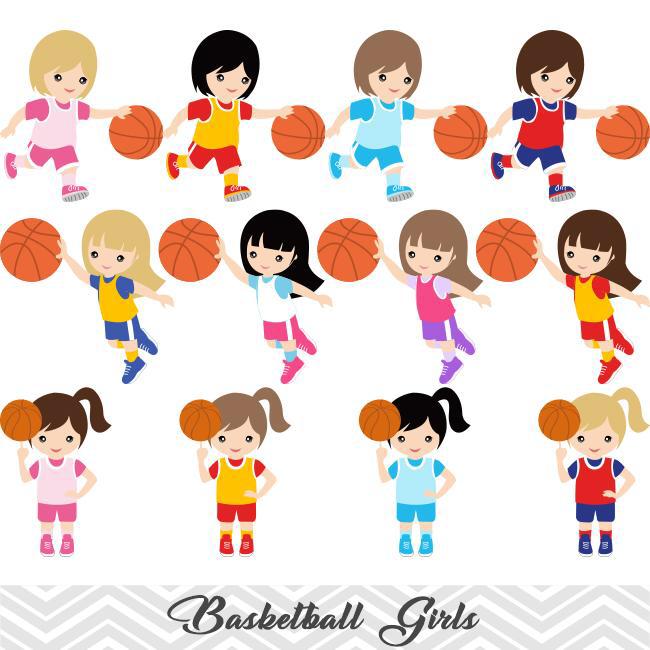 Girls Basketball Digital Clip Art Sport Girls Basketball Team Clipart 00258 Basketball Girls Basketball Clipart Clip Art