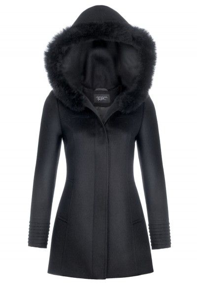 Hooded Coat with Alpaca Hair Trim | Sentaler Luxury Designer Outerwear | Alpaca Coats, Capes, Scarves