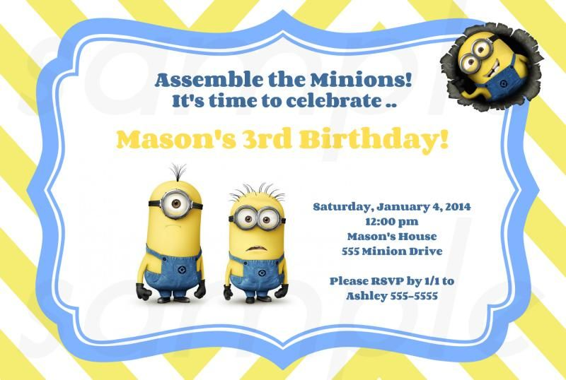 Bunch Of Minion Birthday Party Invitations Ideas