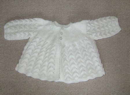 Baby Jacket Knitting Pattern Easy : new hand knitted matinee jacket knitted in a baby soft 4ply wool in a ... M...