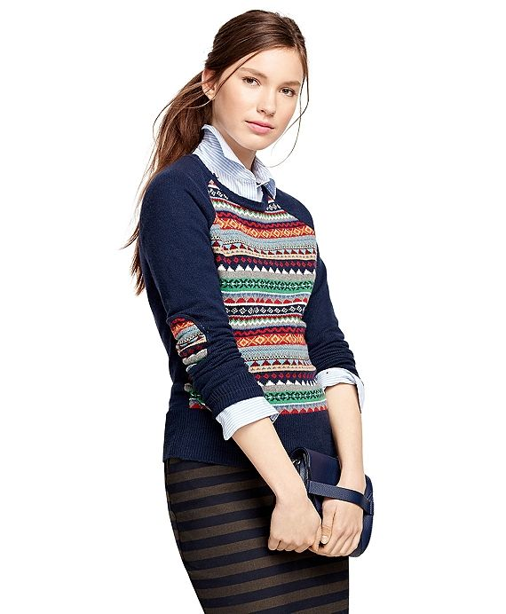Cotton Blend Fair Isle Sweater Navy Multi | Stitch Fix Style ...