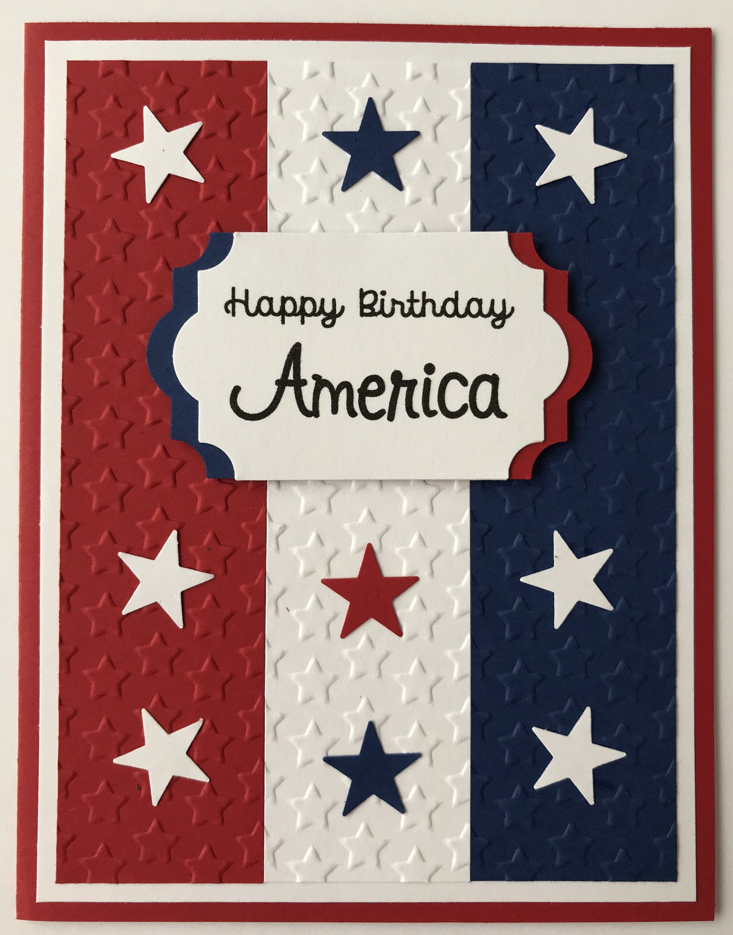 Handmade 4th Of July Card Happy Birthday America Let Freedom Ring A2 Red White Blue Patriotic Independence By Military Cards Cards Happy Birthday America