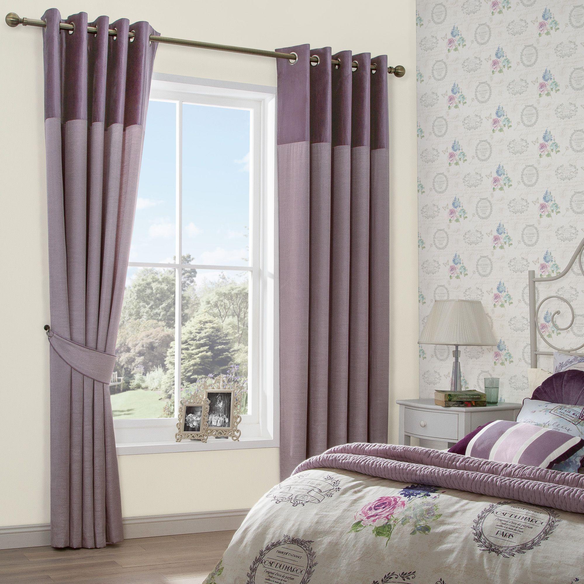Arcadia Clematis Velvet Header Faux Silk & Velvet Eyelet Curtains (W)167cm  x (