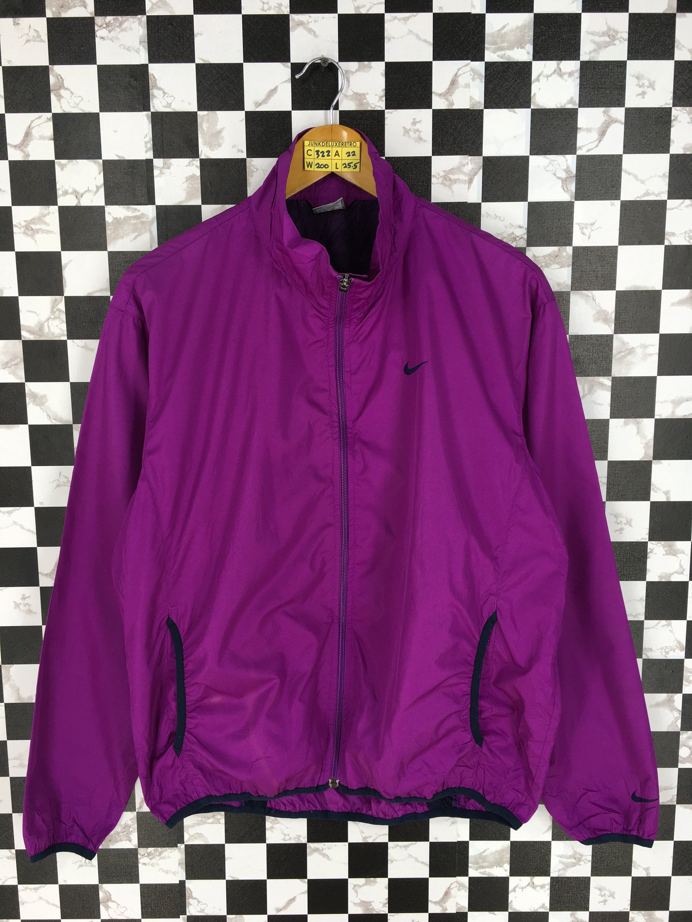 Vintage 1990 S Nike Jacket Windbreaker Large Women Nike Acg Sport Training Athletic Nike Swoosh Purple Sportswear Windrunner Jacket Size L