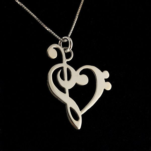 G clef bass clef heart necklace silver music note treble clef g clef bass clef heart necklace silver music note treble clef pendant aloadofball Images